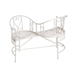 White Metal Garden Love Seat
