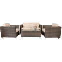 Barbados 4 Piece Rattan Garden Lounge Set