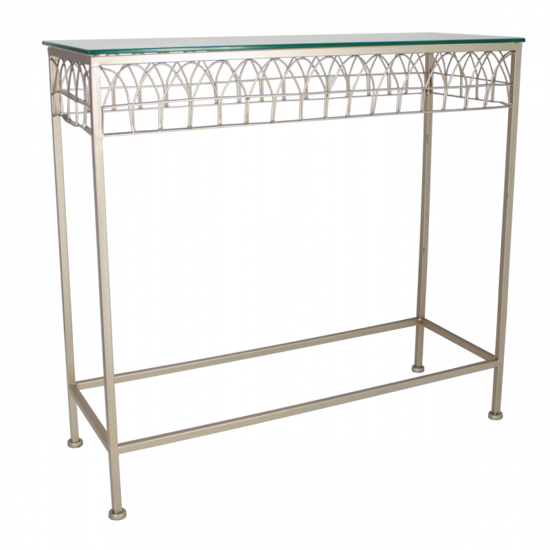 Champagne metal and glass console table forever furnishings Metal console table