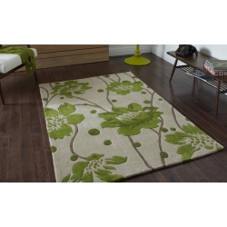 Green and Beige Flower and Stem Rug