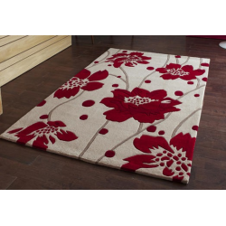 Red and Beige/Cream Floral Stem Rug