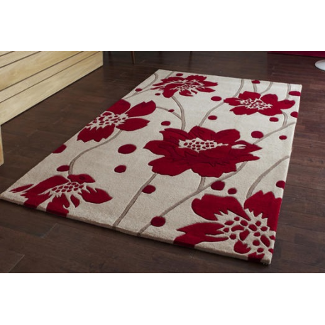 Red and beige cream floral stem rug forever furnishings for Cream and red rugs