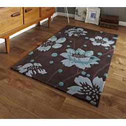 Brown and Blue Floral Stem Rug
