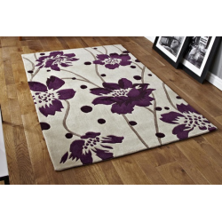 Cream and Purple Floral Stem Rug