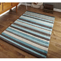 Blue, Brown and Beige Stripe Modern Rug