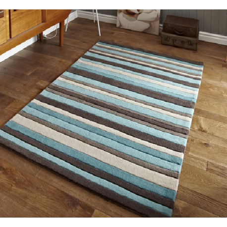 Blue Brown And Beige Stripe Modern Rug Forever Furnishings