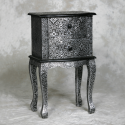 Black Floral Embossed Bed Side / Lamp Table