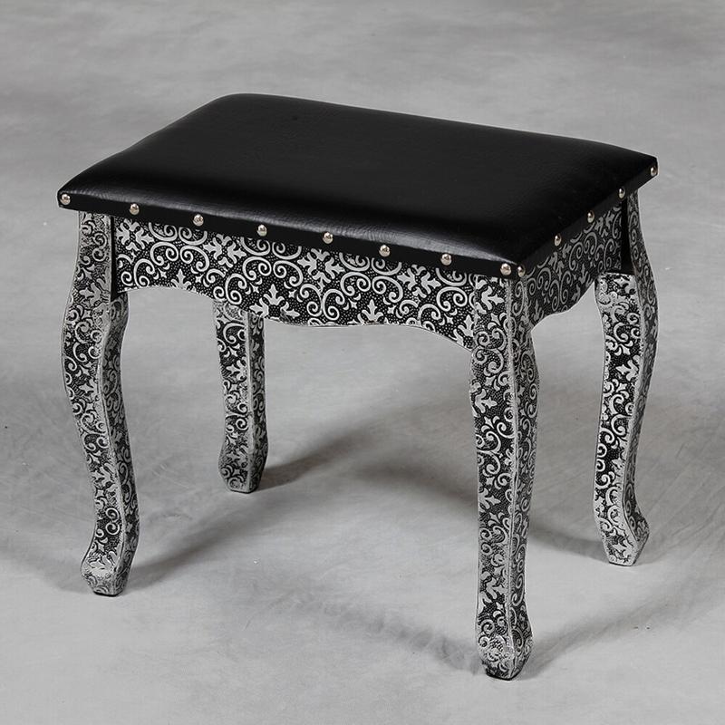 Blackened silver embossed dressing table stool forever
