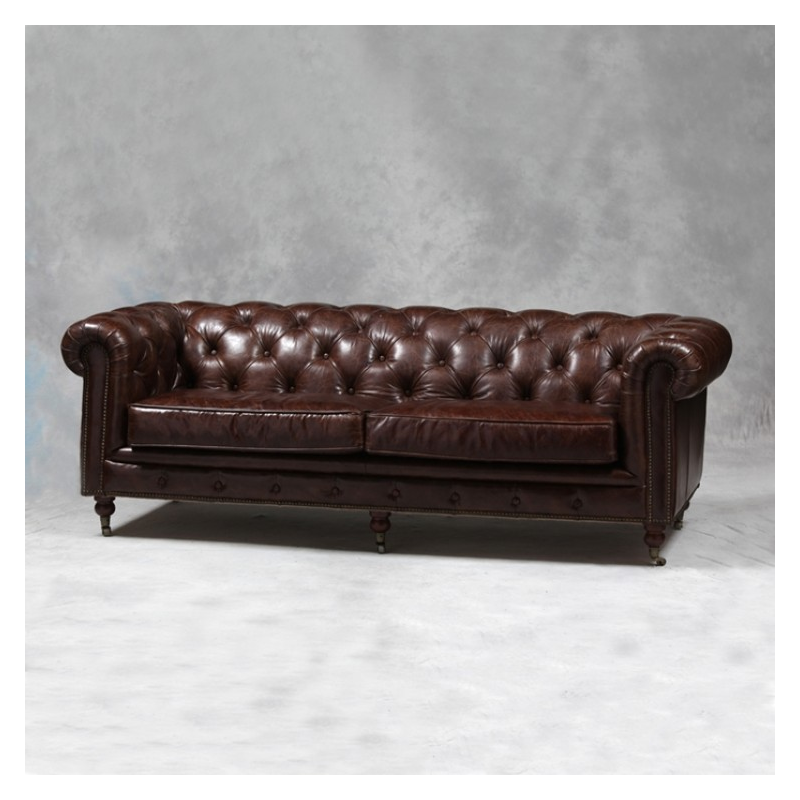 vintage effect chesterfield large 3 seater sofa mid dark brown forever furnishings. Black Bedroom Furniture Sets. Home Design Ideas