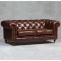 Vintage Effect Chesterfield Large 2 Seater Sofa - Mid/ Dark Brown