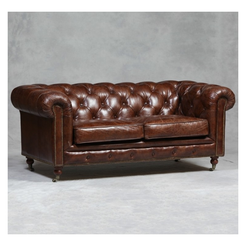 vintage effect chesterfield large 2 seater sofa mid dark brown forever furnishings. Black Bedroom Furniture Sets. Home Design Ideas
