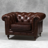 Vintage Leather Chesterfield Arm Chair - Mid/ Dark Brown