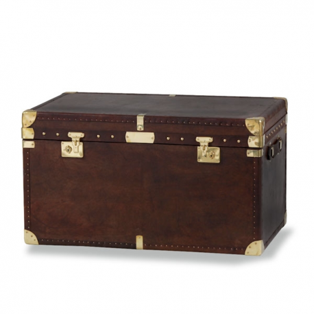 Large Brown Leather Storage Trunk Chest Coffee Table Forever Furnishings