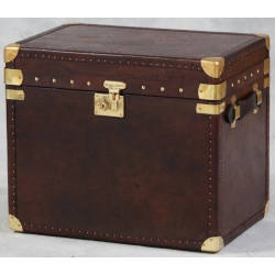 Brown Leather and Brass Wide Medium Storage Trunk / Chest