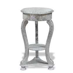 Silver Mosaic Crackled Side Table