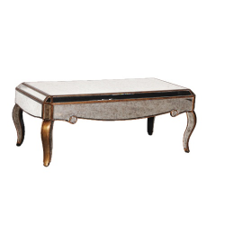 Antiqued Glass Venetian Coffee Table With Gold Edge