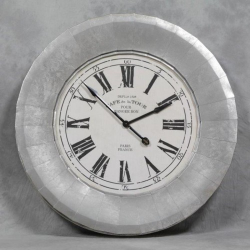 Extra Large Silver and White Cafe De La Tour Wall Clock