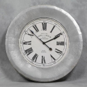 Extra Large Silver and White Aged Cafe De La Tour Wall Clock