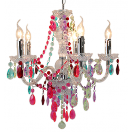 Multi coloured jewel 5 light chandelier ceiling light forever multi coloured jewel 5 light chandelier ceiling light aloadofball Image collections