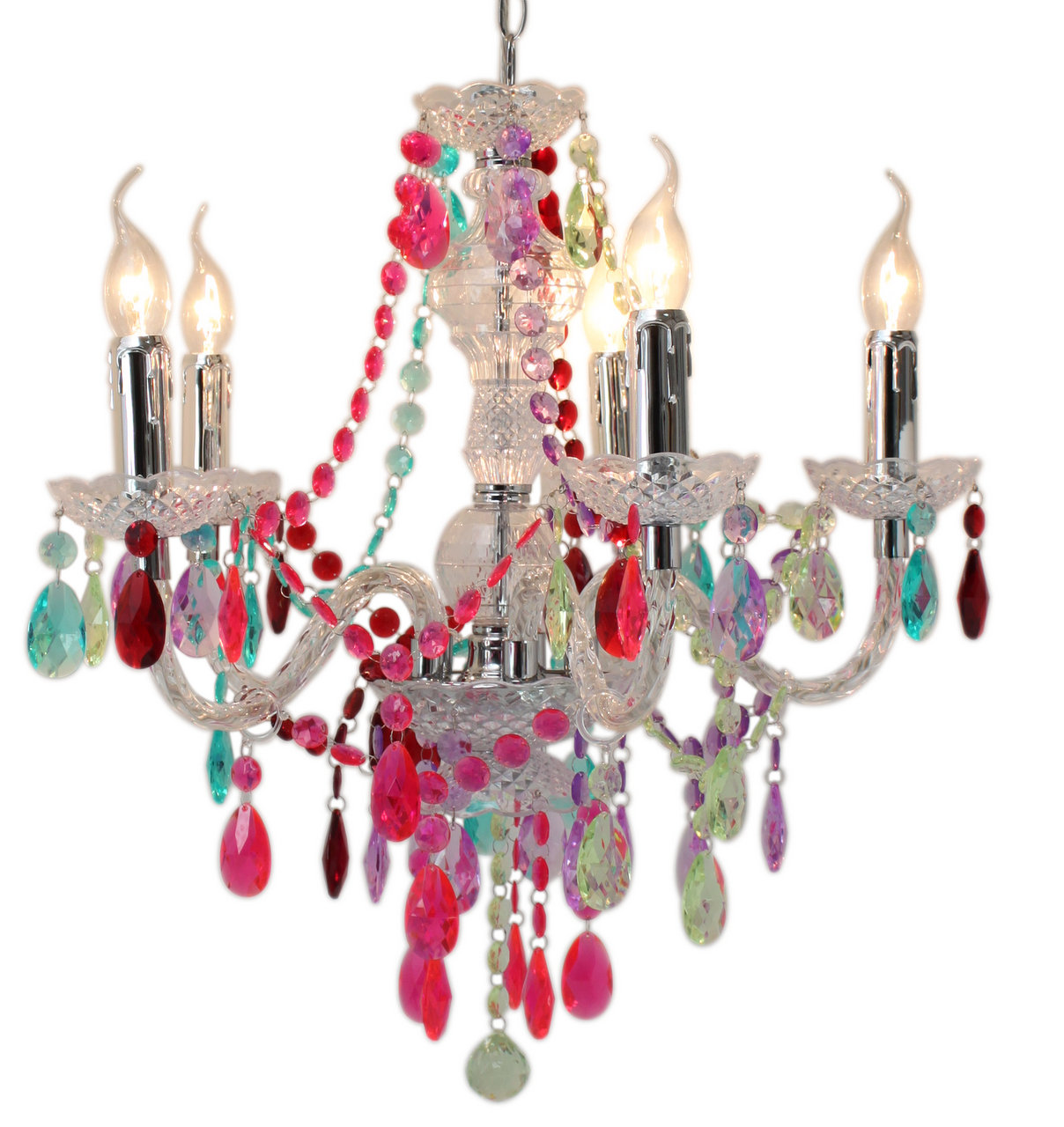 Multi coloured jewel 5 light chandelier ceiling light forever multi coloured jewel 5 light chandelier ceiling light forever furnishings arubaitofo Image collections