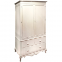 Country Ivory Double Wardrobe with Distressed Wood Top
