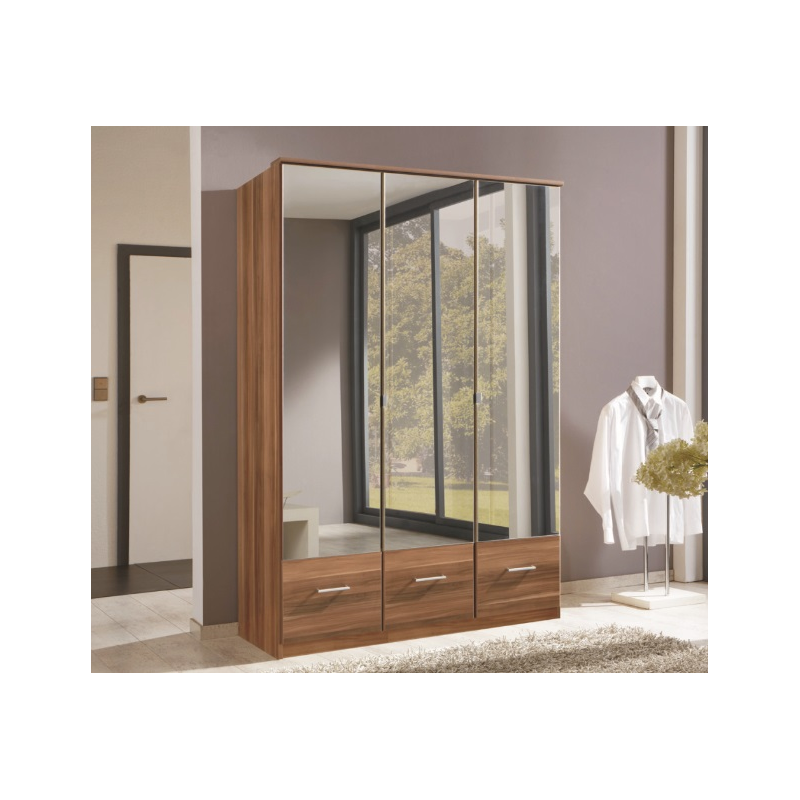 Imagine 3 door walnut mirror wardrobe forever furnishings for Mirror wardrobe