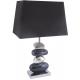 Black and Chrome Pebble Table Lamp- Rectangular Shade
