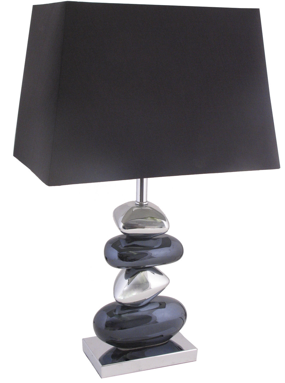 Black And Chrome Pebble Table Lamp  Rectangular Shade   Forever Furnishings