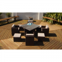 Port Royal Classic Rattan Brown Garden Cube Set