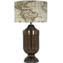 Crackled Copper Mercury Lamp with Linen Map Shade