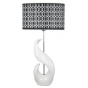 White Curved Statement Lamp With Monochrome Shade