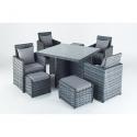 Port Royal Platinum Cube Garden 4 Seat Dining Set
