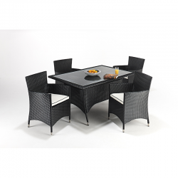 Port Royal Prestige Rectangular Black Rattan 4 Chair Dining Set