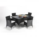 Port Royal Prestige Rectangular Black Rattan 4 Chair Dining Set