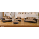 Desert Fabric and Leather Brown/ Beige Sofa Suite
