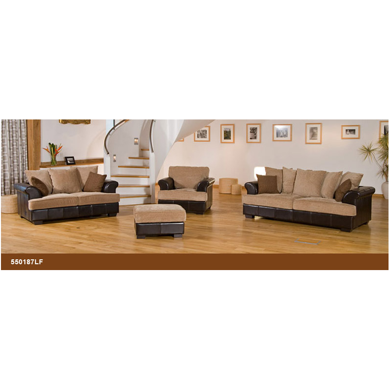 Leather Sofa Suites Uk: Desert Fabric And Leather Brown/ Beige Sofa Suite