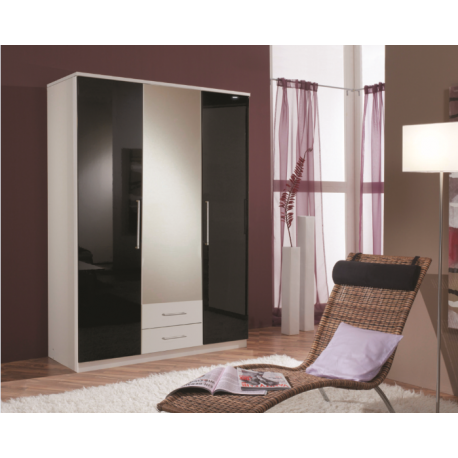Kiss 3 Door White With Black Gloss Wardrobe Forever