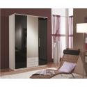 Kiss 3 Door White with Black Gloss Wardrobe