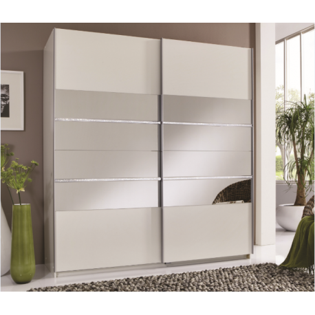WARDROBES Sophia 2 Door White Mirror Panel Sliding Wardrobe