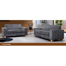 California Grey Fabric 2+3 Seater Sofa Suite
