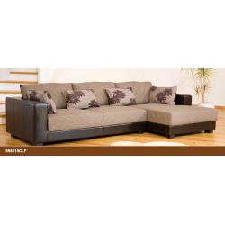 Desert Fabric and Leather Brown/Beige Corner Sofa