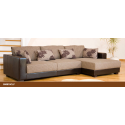 Desert Fabric and Leather Brown/Beige Corner Sofa