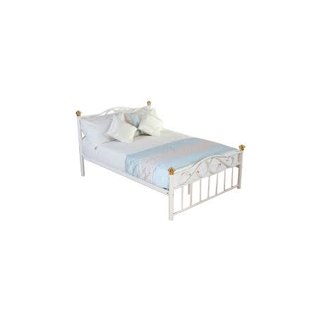 Classic White Metal Double Bed With Gold Trim Forever