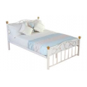 Classic White Metal Double Bed with Gold Trim