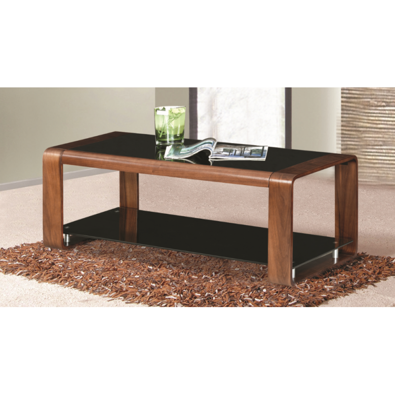 American Style Black Glass Walnut Coffee Table Forever Furnishings