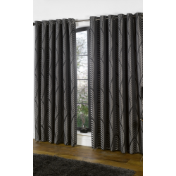 Dakota Black and Silver Curtains