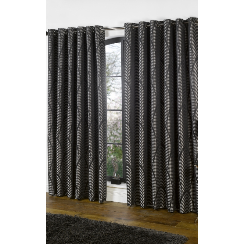 Dakota Black And Silver Curtains Pair Forever Furnishings