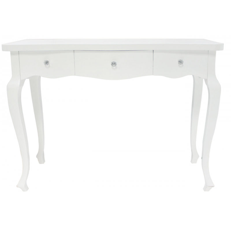 White Wooden 3 Drawer Console Dressing Table Forever Furnishings Fine Home And Garden