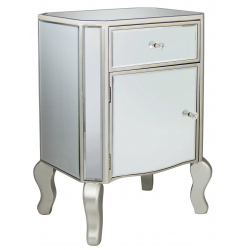 Mirror One Drawer Champagne Trim Side Table