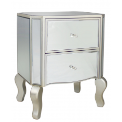 Mirror Two Drawer Side Table With Champagne Trim